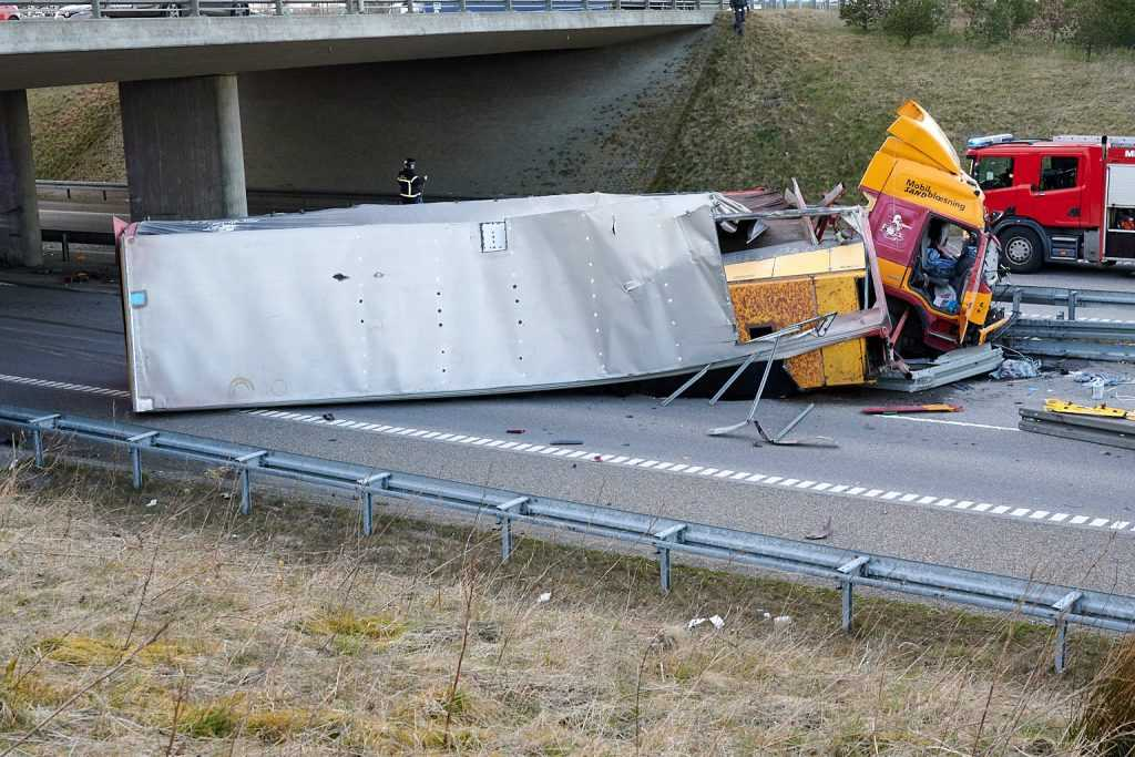 lastvognsulykke på Herningmotorvejen